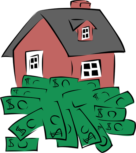 An illustrated red house sits atop a pile of green dollar bills.