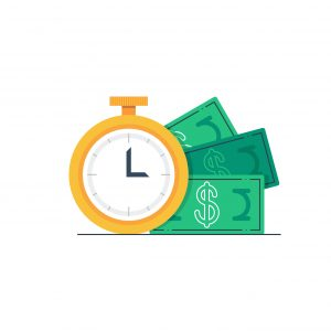 A vector clock next to money