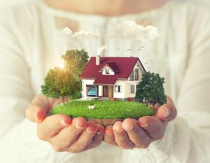 A person holds the idea of their dream home.